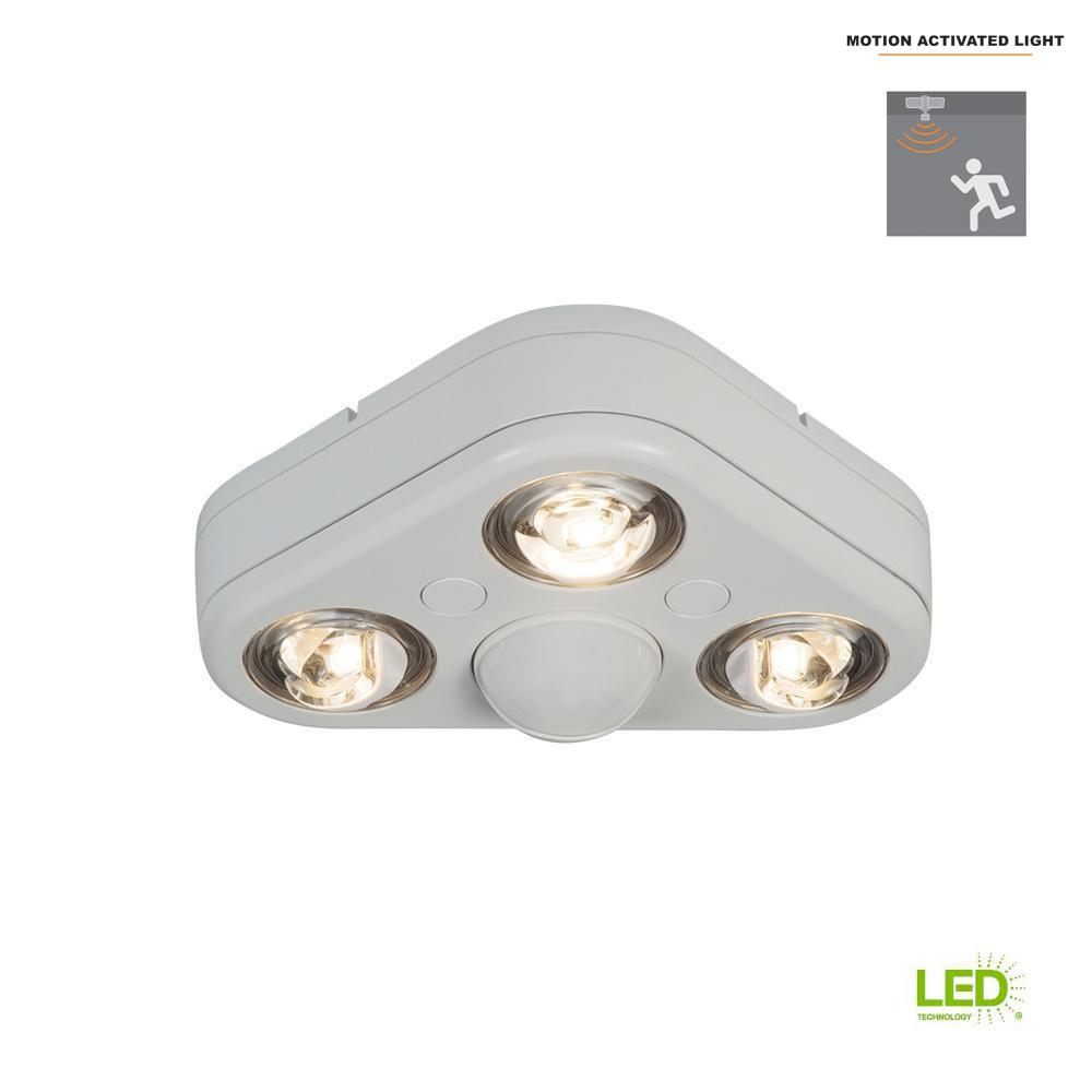 Details About All Pro Revolve White Triple Head Motion Activated Led Security Flood Light