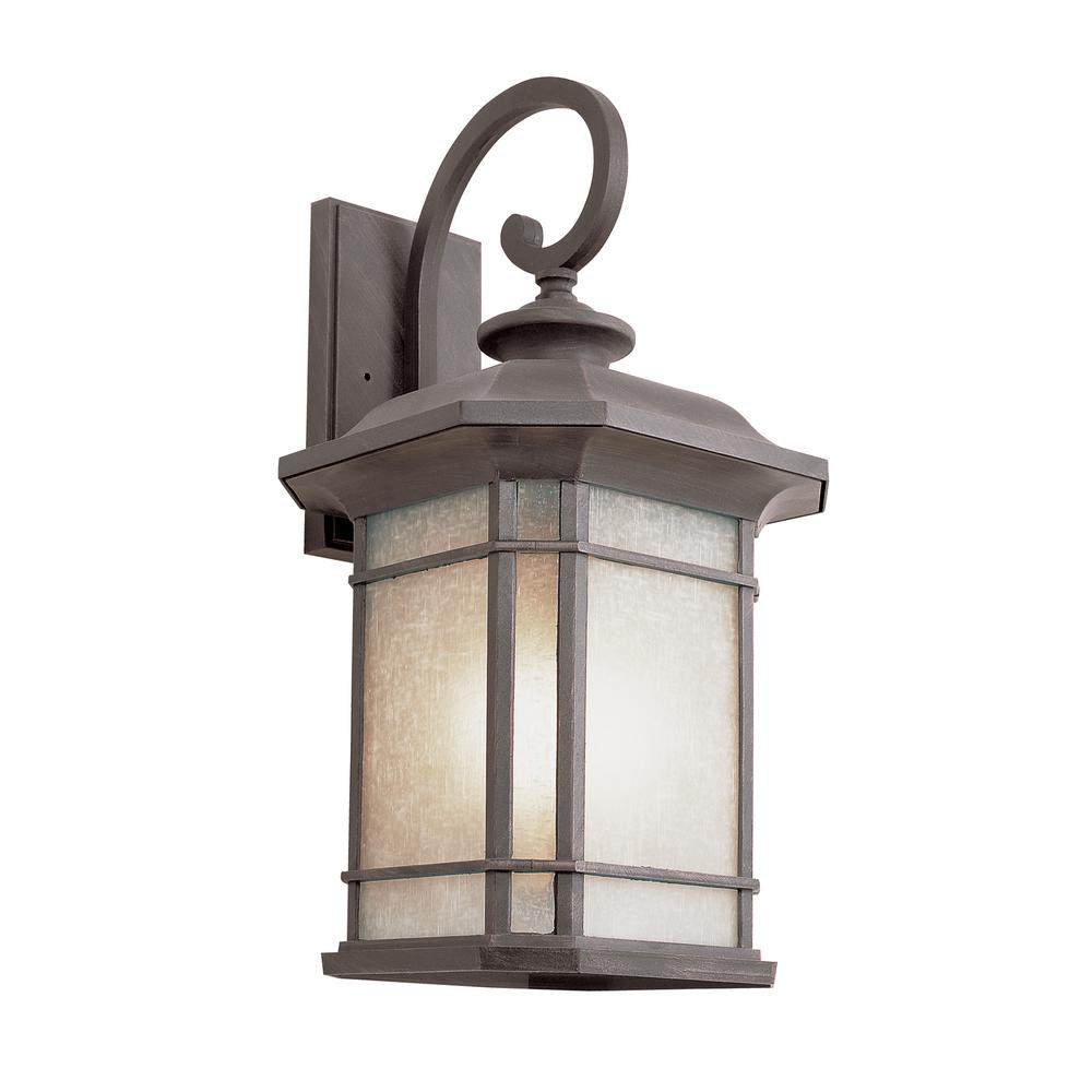 Details About Bel Air Lighting 1 Light Fluorescent Outdoor Rust With Tea Stained Gl Lantern