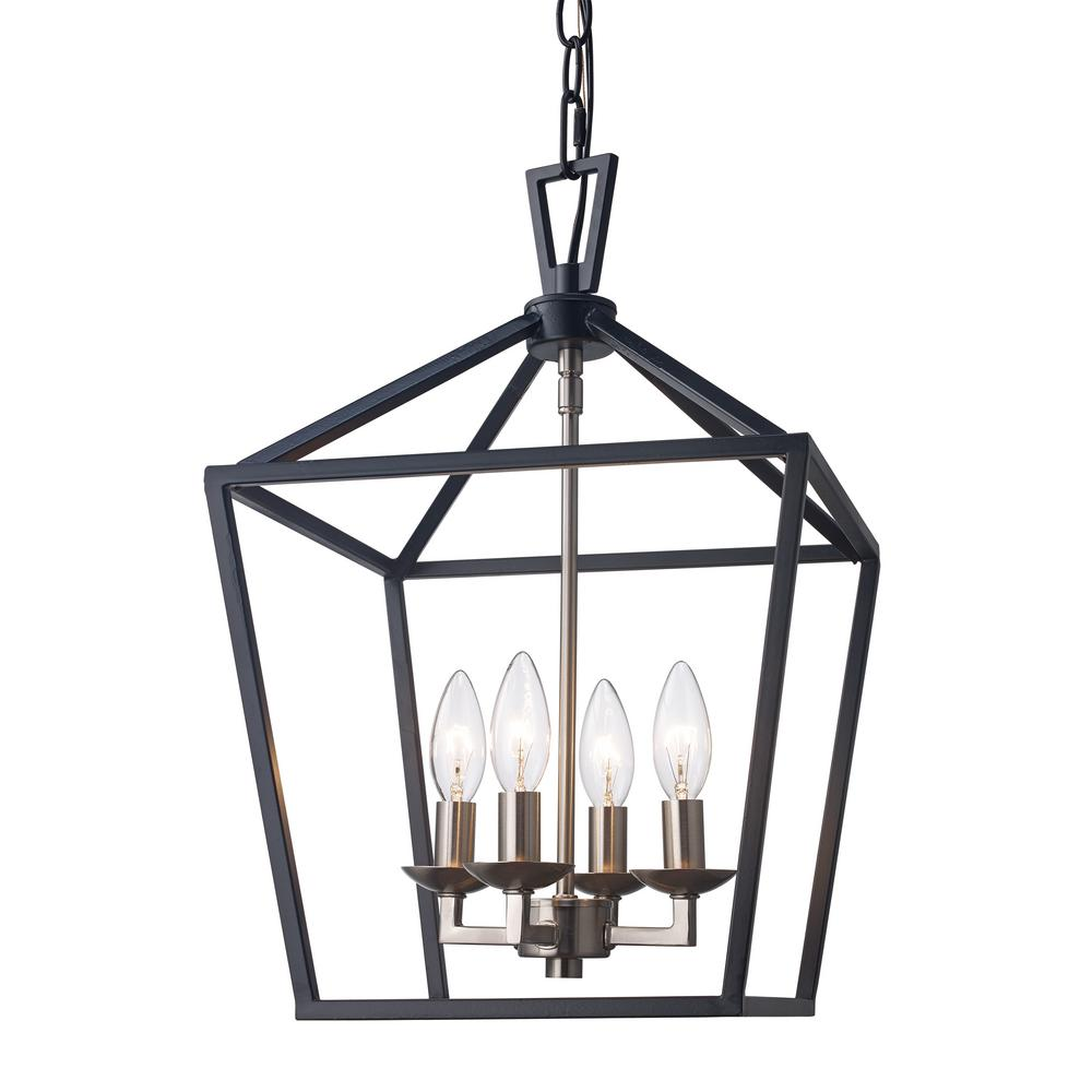 Details About Bel Air Lighting Lacey 4 Light Black And Brushed Nickel Pendant 10264 Bk Bn