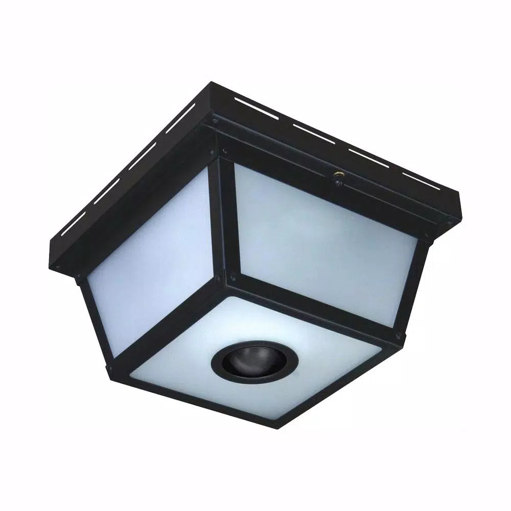 Hampton bay 360 degree square 4 light black motion sensing outdoor flush mount