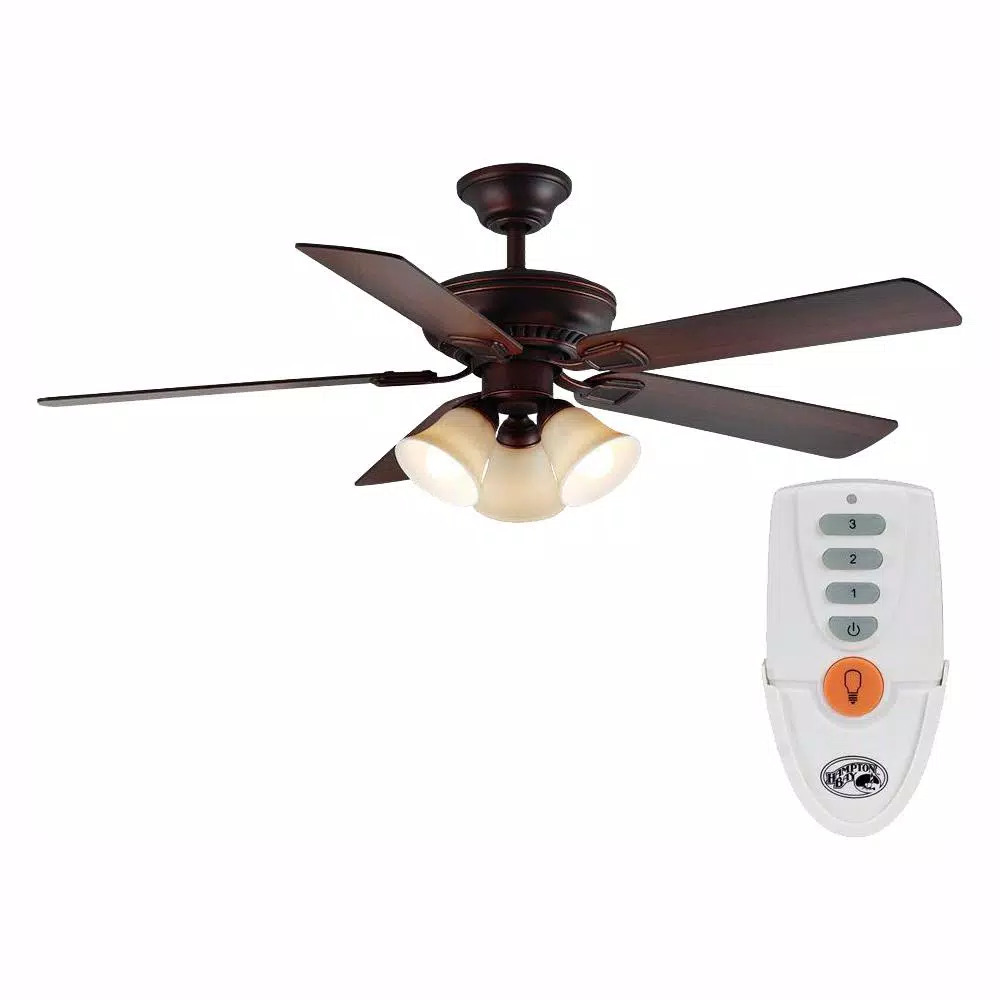 Hampton Bay Campbell 52 In Led Indoor Mediterranean Bronze Ceiling Fan