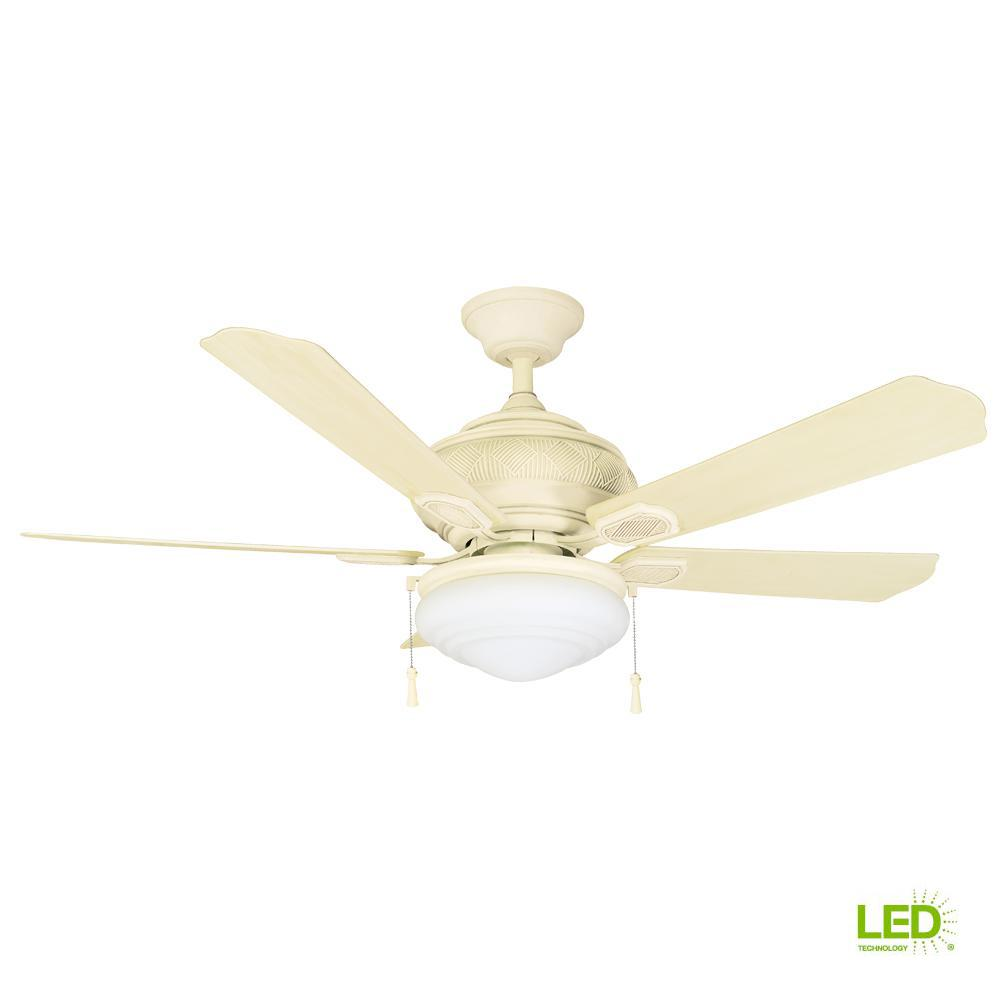 Details About Hampton Bay Portsmouth 52 In Led Indoor Outdoor Vintage White Ceiling Fan
