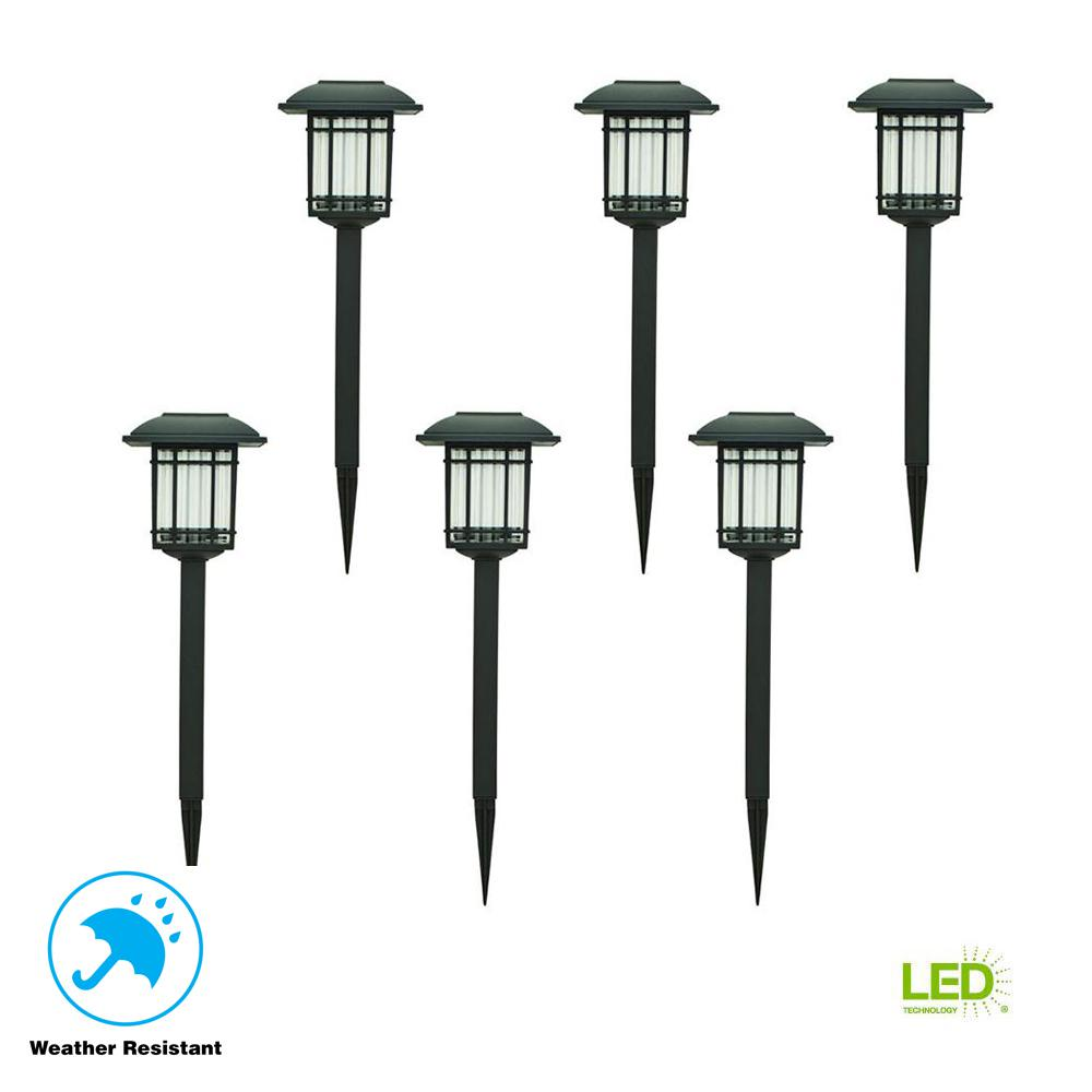 Hampton-Bay-Solar-Black-Outdoor-LED-3000K-6-Lumens-Landscape-Light-6-Pack