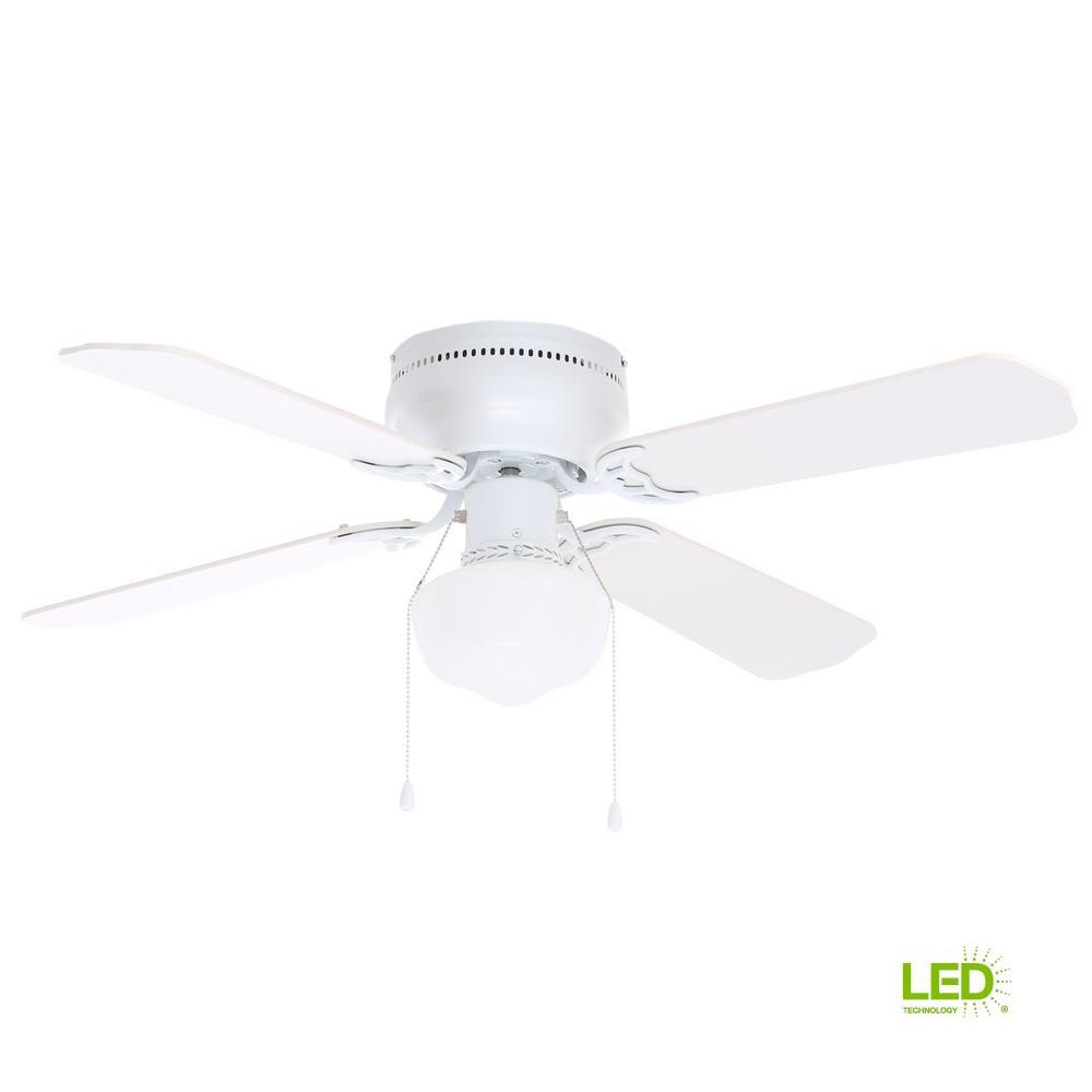 Ceiling Fan 42 High Quality With Light: Hampton Bay Littleton 42 In. LED Indoor White Ceiling Fan