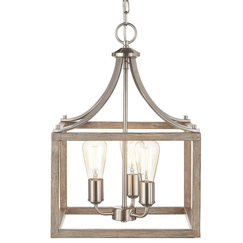 Home Decorators Boswell Quarter 14 In 3 Light Brushed Nickel Chandelier