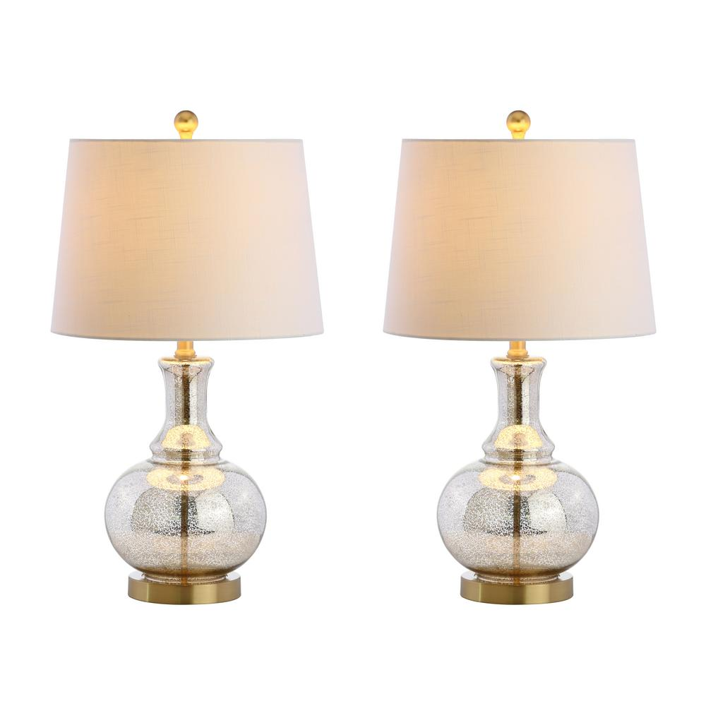 Details About Jonathan Y Lavelle 25 In Mercury Silver Brass Gold Glass Table Lamp Set Of 2