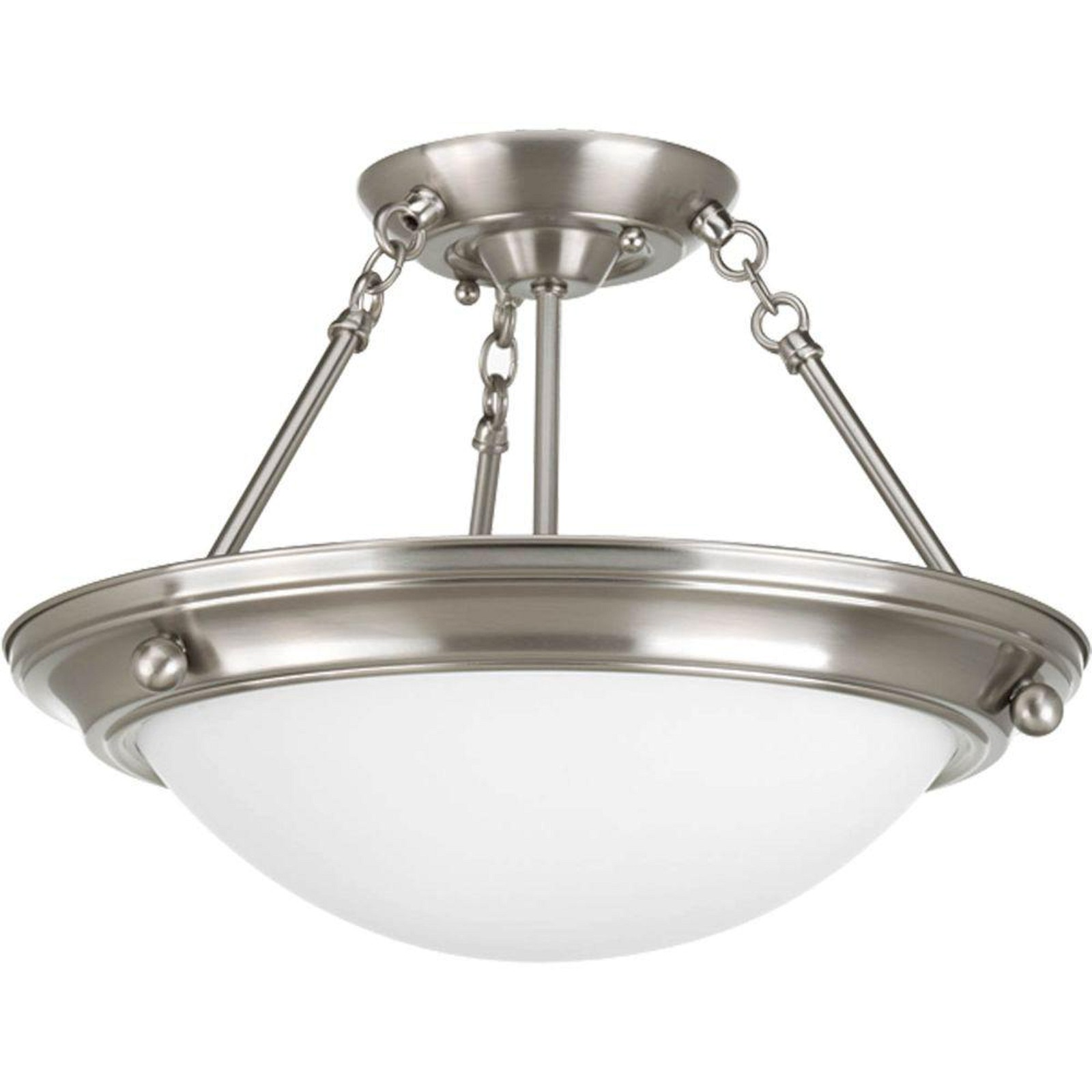 0bae9991e1d Progress Lighting Eclipse Collection 2-Light Brushed Nickel Semi-Flushmount