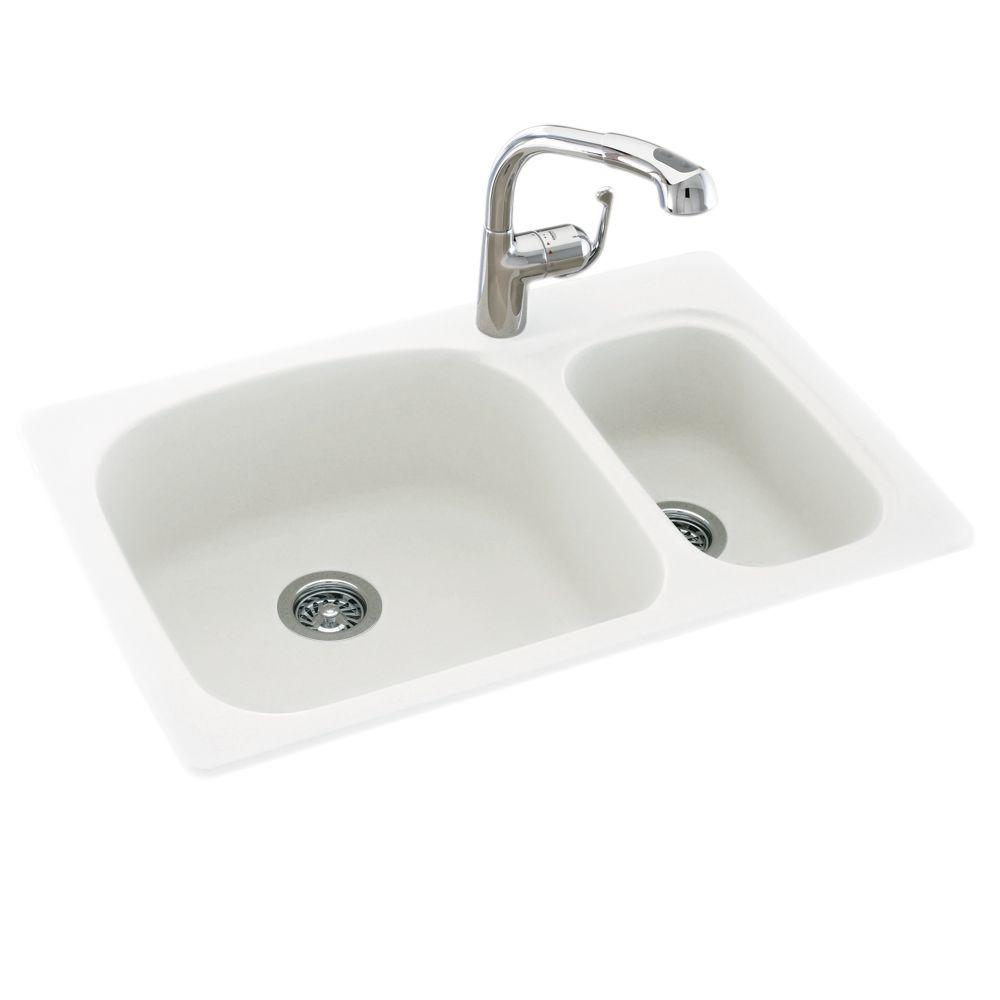 Details About Swan Solid Surface 33 In 1 Hole 70 30 Double Bowl Kitchen Sink White